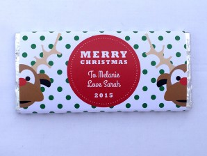 Personalised Chocolate Bars – Spotty Reindeer